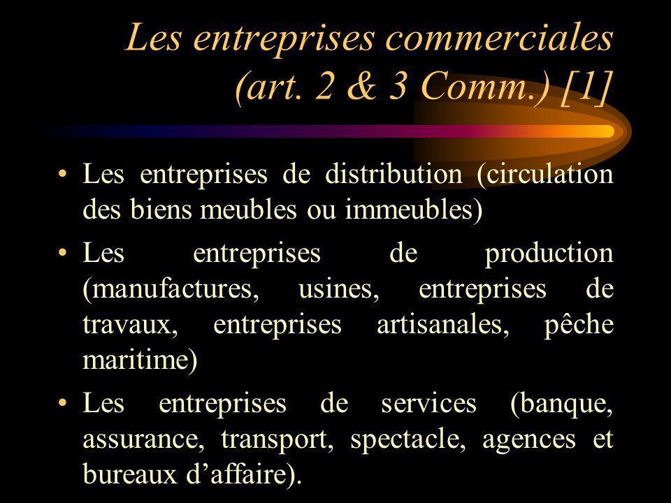 Les entreprises commerciales (art. 2 & 3 Comm.) [1]